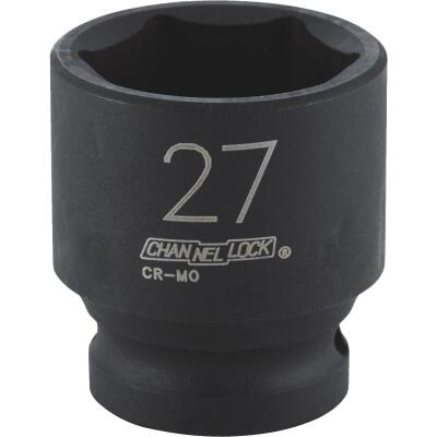 Channellock 1/2 In. Drive 27 mm 6-Point Shallow Metric Impact Socket
