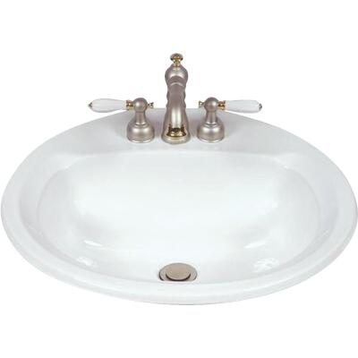 Mansfield Maverick I Round Drop-In Bathroom Sink, White