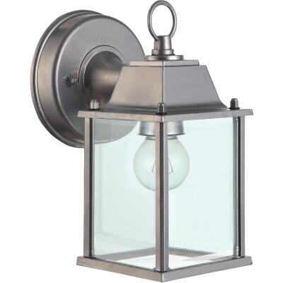 Home Impressions 100W Incandescent Brushed Nickle Lantern Outdoor Wall Light Fixture