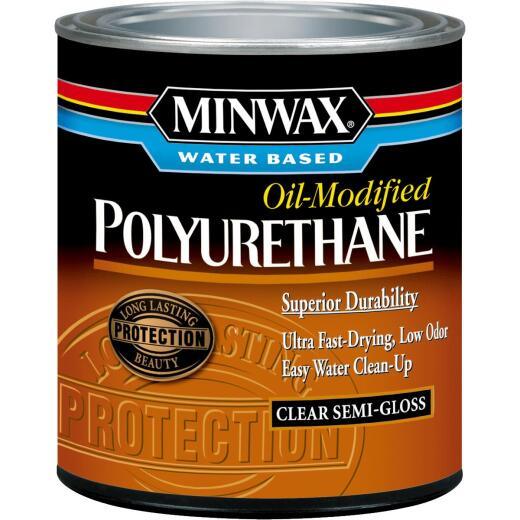 Minwax Semi-Gloss Water Based Oil-Modified Interior Polyurethane, 1/2 Pt.