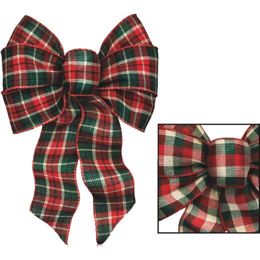 Holiday Trims 7-Loop 8-1/2 In. W. x 14 In. L. Assorted Plaid Fabric Christmas Bow